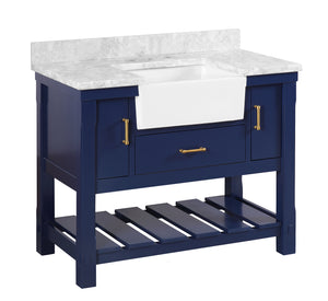 Charlotte 42-inch Farmhouse Vanity in Carrara Marble & Royal Blue