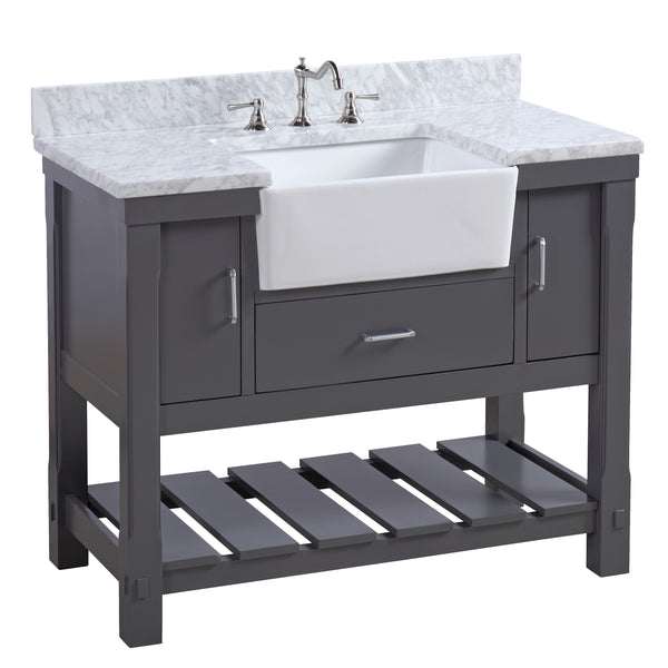 Charlotte 42-inch Farmhouse Vanity (Carrara/Charcoal Gray)