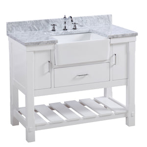 "Charlotte 42"" White Farmhouse Bathroom Vanity with Carrara Marble"