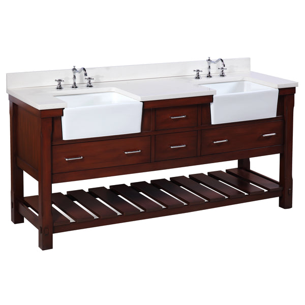 Charlotte 72-inch Farmhouse Vanity (Quartz/Chocolate)