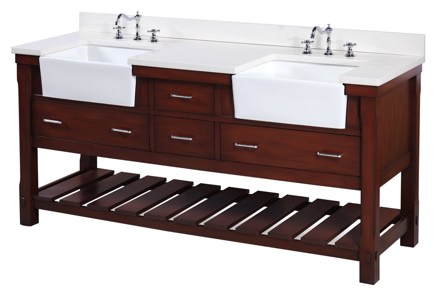 "Charlotte 72"" Chocolate Brown Farmhouse Bathroom Vanity with Quartz Top"