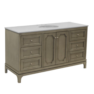 Starboard 60-inch Single Vanity (Quartz/Weathered Gray)