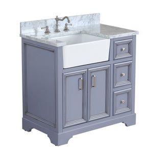 Zelda 36-inch Farmhouse Vanity (Carrara/Powder Gray)