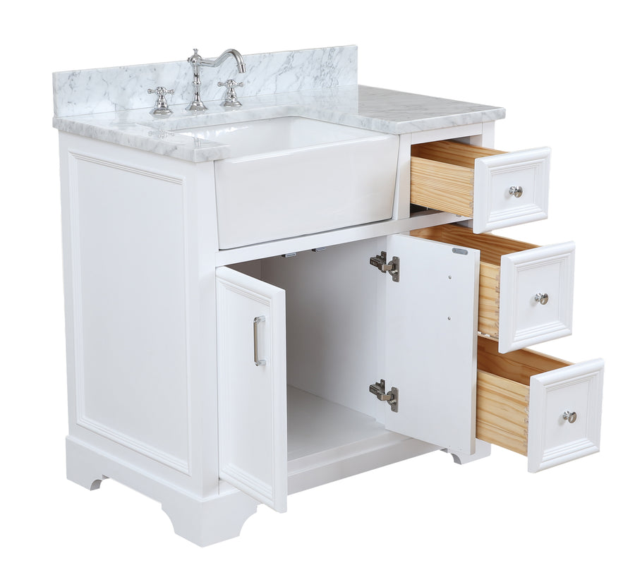 Zelda 36-inch Farmhouse Vanity (Carrara/White)