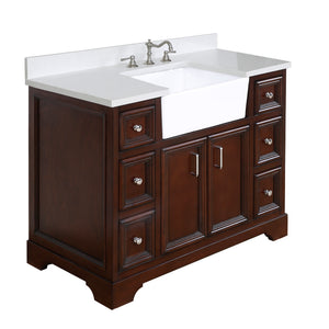 Zelda 42-inch Farmhouse Vanity (Quartz/Chocolate)