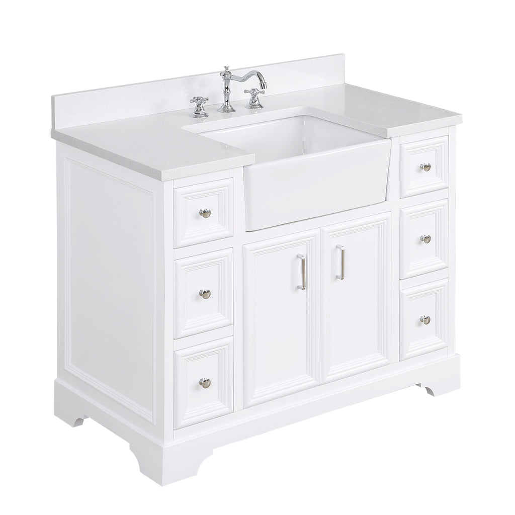 Zelda 42-inch Farmhouse Vanity (Quartz/White)