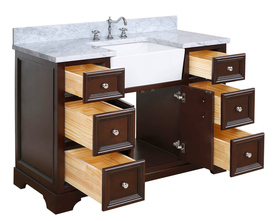 Zelda 48-inch Farmhouse Vanity (Carrara/Chocolate)
