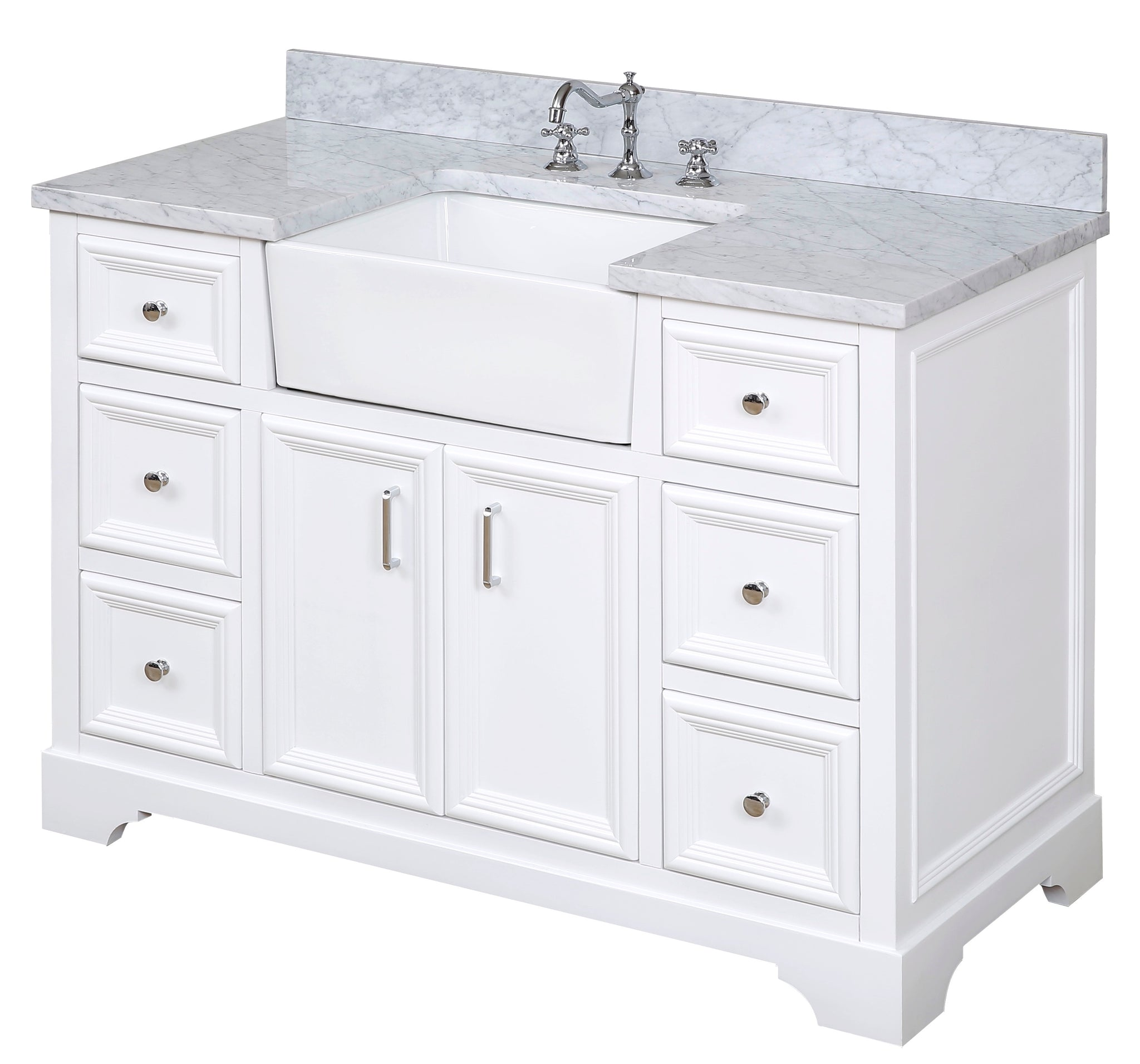 Zelda 48 Farmhouse Bathroom Vanity Apron Sink Carrara Marble Top Kitchenbathcollection