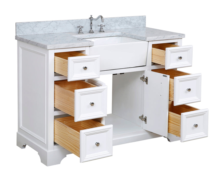 Zelda 48-inch Farmhouse Vanity (Carrara/White)