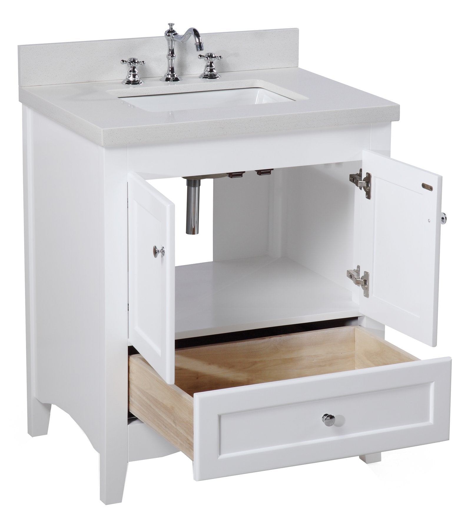 Abbey 30 Shaker Style Bathroom Vanity With Quartz Top Kitchenbathcollection