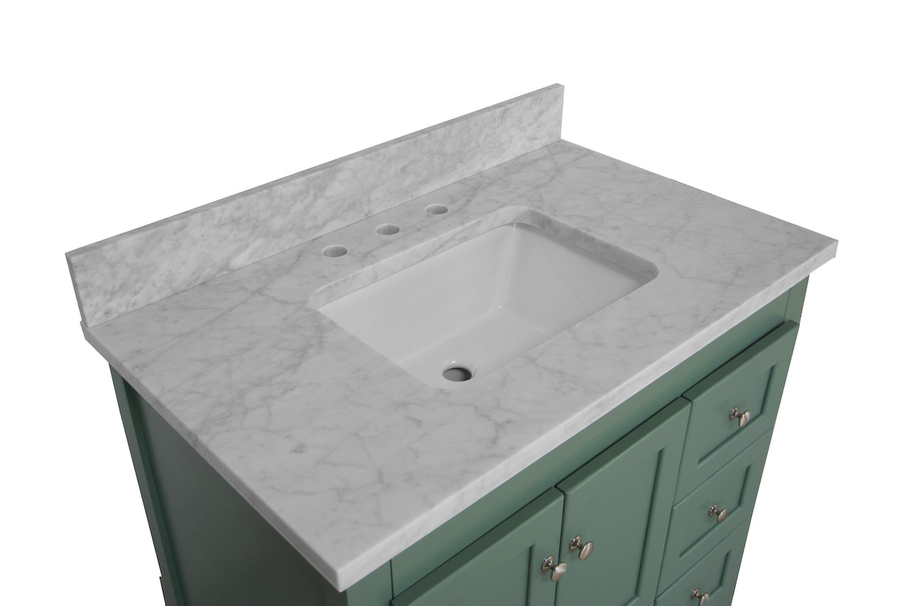 Abbey 36 Shaker Style Bathroom Vanity Cabinet With Carrara Marble Top Kitchenbathcollection