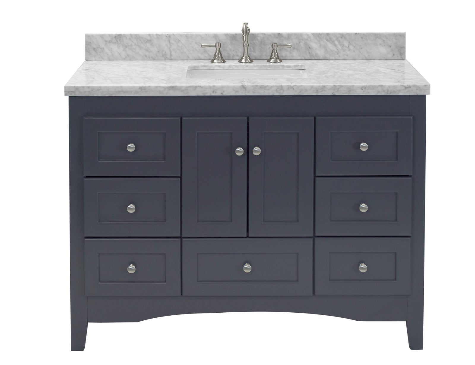 Abbey 48 Shaker Style Bathroom Vanity With Carrara Marble Top Kitchenbathcollection