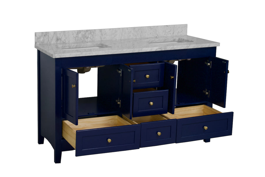 Abbey 60-inch Double Vanity with Carrara Marble Top