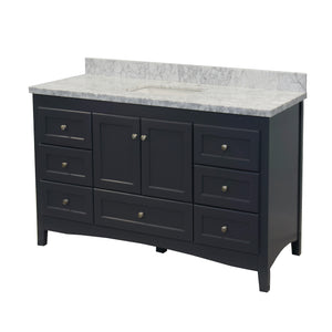 Abbey 60-inch Single Sink Charcoal Gray Bathroom Vanity Side