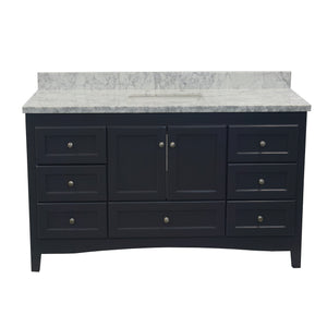 Abbey 60-inch Single Sink Charcoal Gray Bathroom Vanity Front