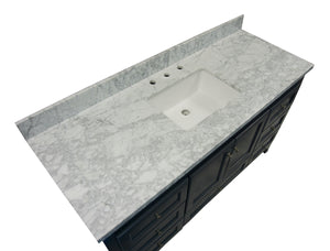 Abbey 60-inch Single Sink Charcoal Gray Bathroom Vanity Carrara Marble Top