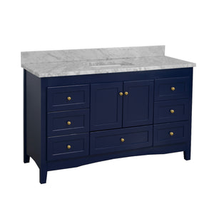 Abbey 60-inch Single Sink Royal Blue Bathroom Vanity Front