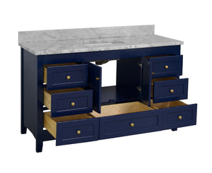 Abbey 60-inch Single Vanity with Carrara Marble Top