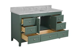 Abbey 60-inch Single Sink Sage Green Bathroom Vanity Interior