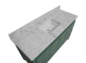 Abbey 60-inch Single Sink Sage Green Bathroom Vanity Carrara Marble Top