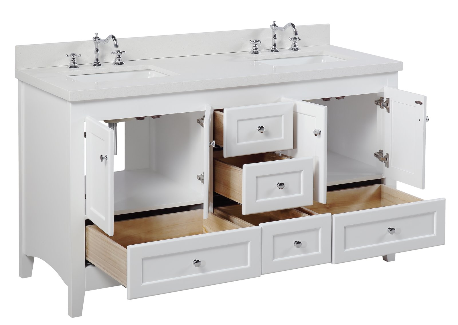 Abbey 60 Shaker Style Double Sink Bathroom Vanity With Quartz Top Kitchenbathcollection