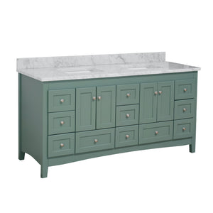 Abbey 72-inch Double Vanity with Carrara Marble Top