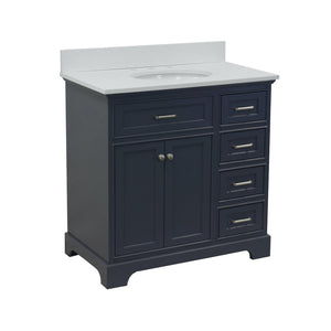 aria 36 inch charcoal gray single sink bathroom vanity quartz