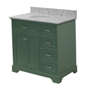 Aria 36-inch Vanity with Carrara Marble Top