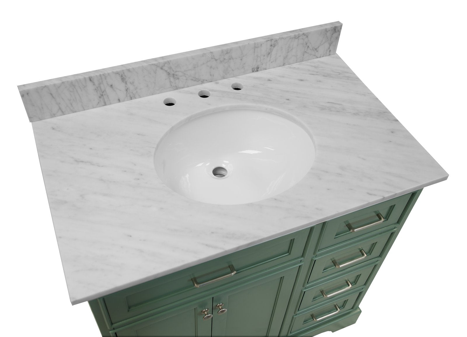 Aria 36 Freestanding Bathroom Vanity With Carrara Marble Top Kitchenbathcollection