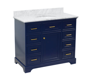 aria 42 royal blue bathroom vanity carrara marble