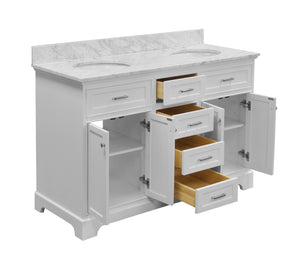 Aria 60-inch Double Vanity with Carrara Marble Top