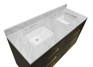 Avery 60-inch Double Vanity with Carrara Marble Top