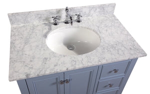 Bella 36-inch Vanity with Carrara Marble Top