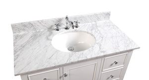 Bella 42-inch Vanity with Carrara Marble Top