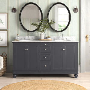 Bella 60-inch Double Vanity with Carrara Marble Top