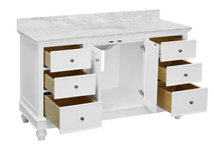 Bella 60-inch Single Vanity with Carrara Marble Top