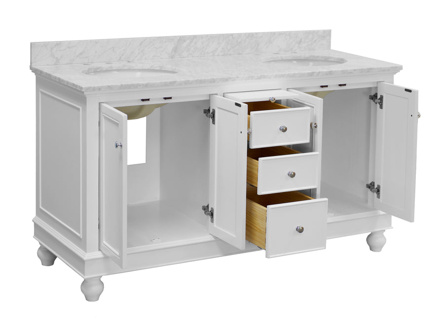 bella 60 inch white bathroom vanity carrara marble