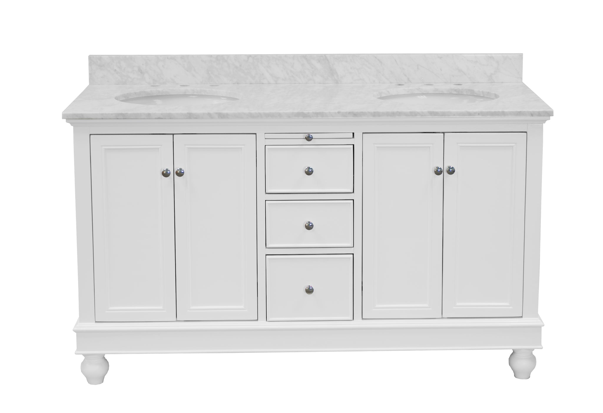 Bella 60 Traditional Double Bathroom Vanity With Carrara Marble Top Kitchenbathcollection