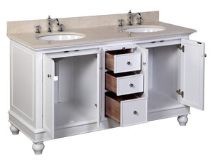 Bella 60-inch Double Vanity with Crema Marfil Top
