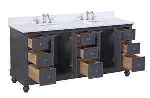 Bella 72-inch Double Vanity (Quartz)