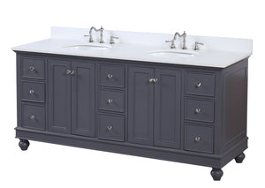 Bella 72-inch Double Vanity with Quartz Top