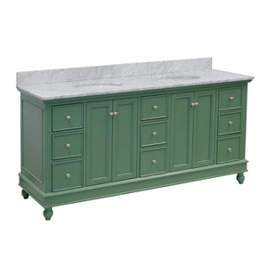 bella 72 sage green double sink bathroom vanity carrara marble