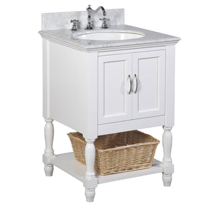 Beverly 24-inch Vanity with Carrara Marble Top