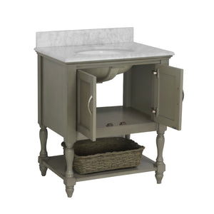 Beverly 30-inch Vanity with Carrara Marble Top