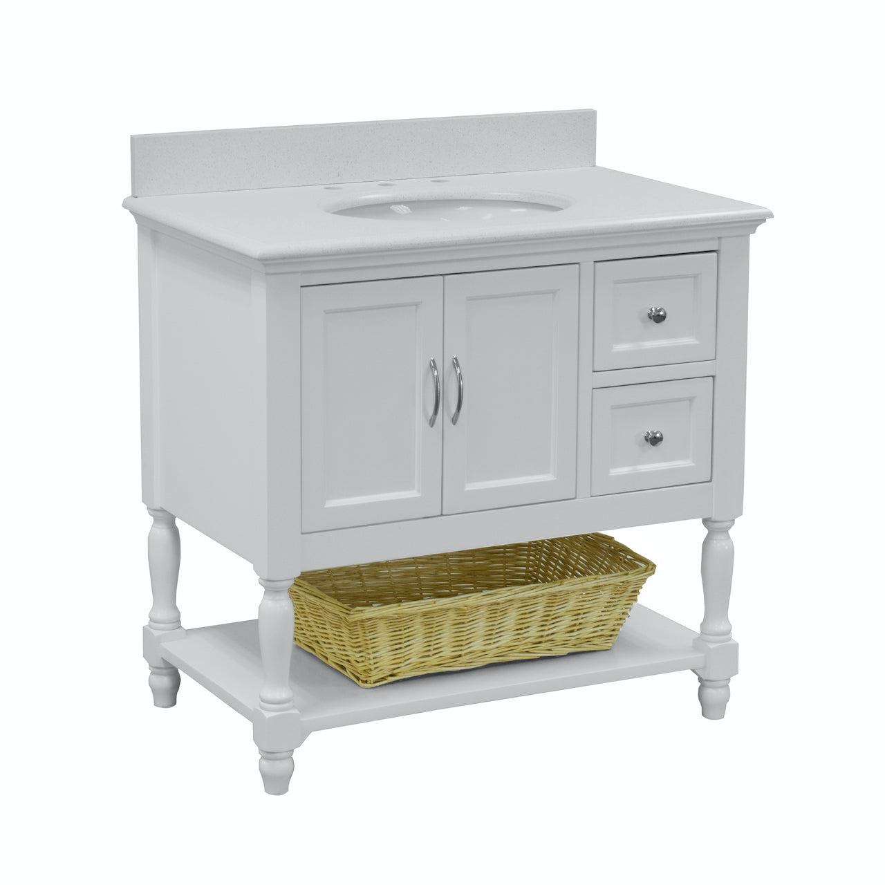 Beverly 36 Traditional White Bathroom Vanity With Quartz Top Kitchenbathcollection
