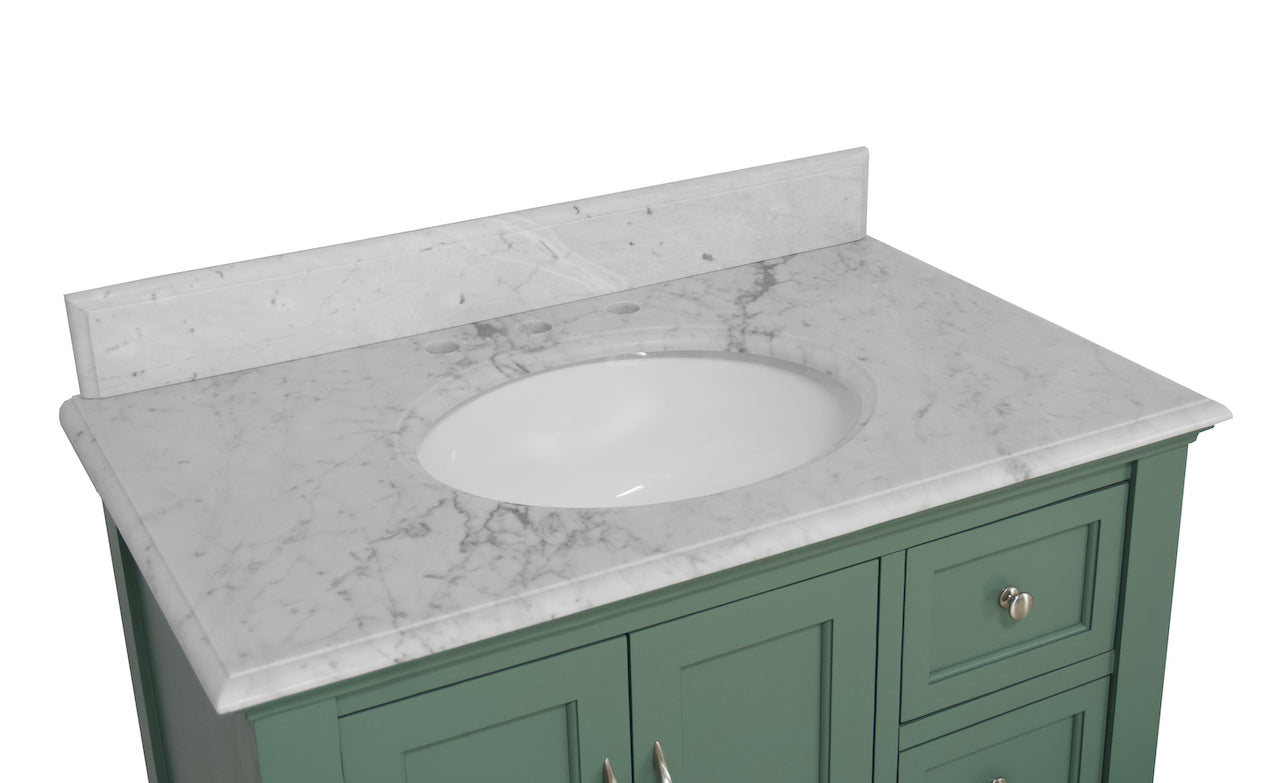 Beverly 36 Traditional Bathroom Vanity With Carrara Marble Top Kitchenbathcollection