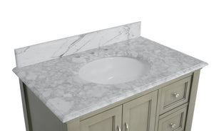 Beverly 36-inch Vanity with Carrara Marble Top