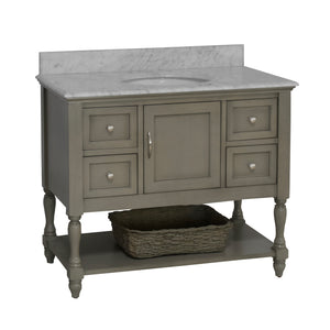 Beverly 42-inch Vanity with Carrara Marble Top