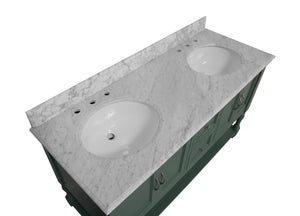 Beverly 60-inch Double Vanity with Carrara Marble Top