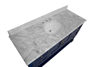 Beverly 60-inch Single Vanity with Carrara Marble Top